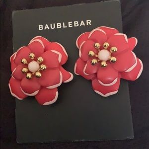 Red Flower Bauble Bar Earrings